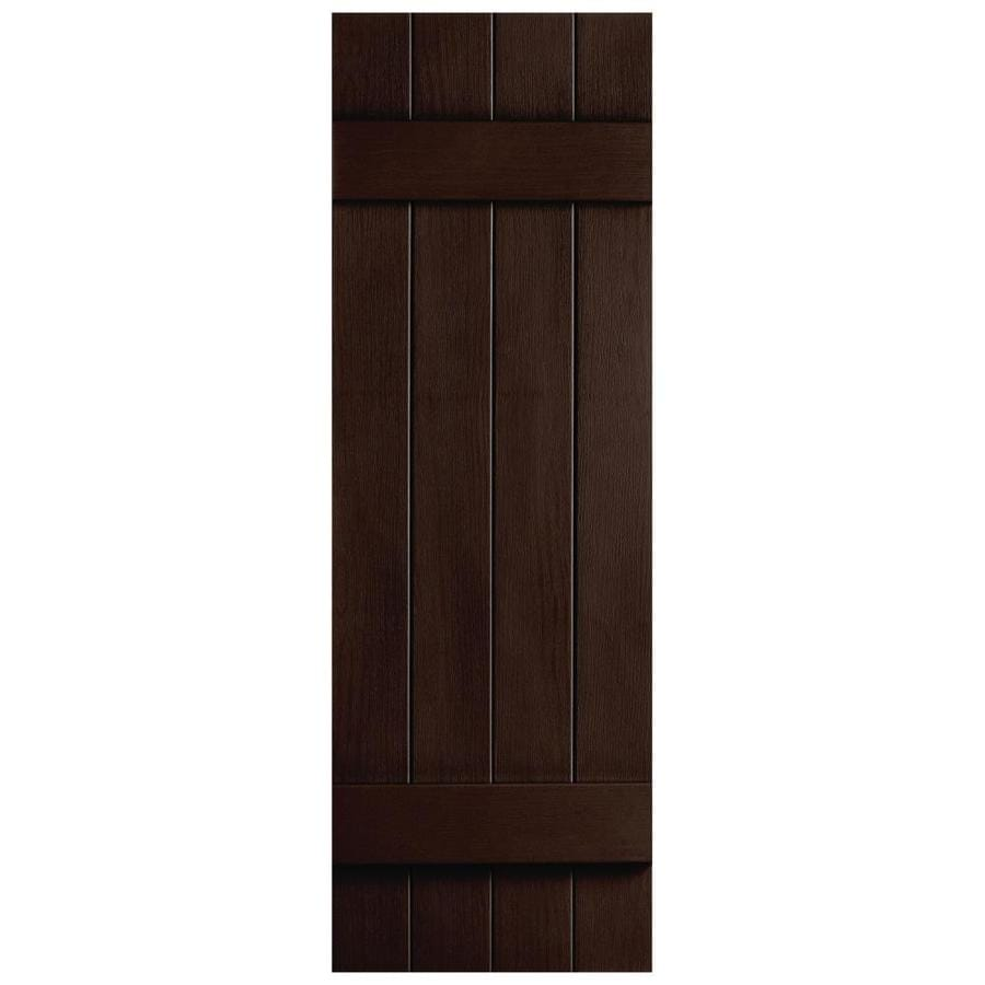Shop Severe Weather 2 Pack 14 In X 39 In Brown Board And Batten Vinyl Exterior Shutters At