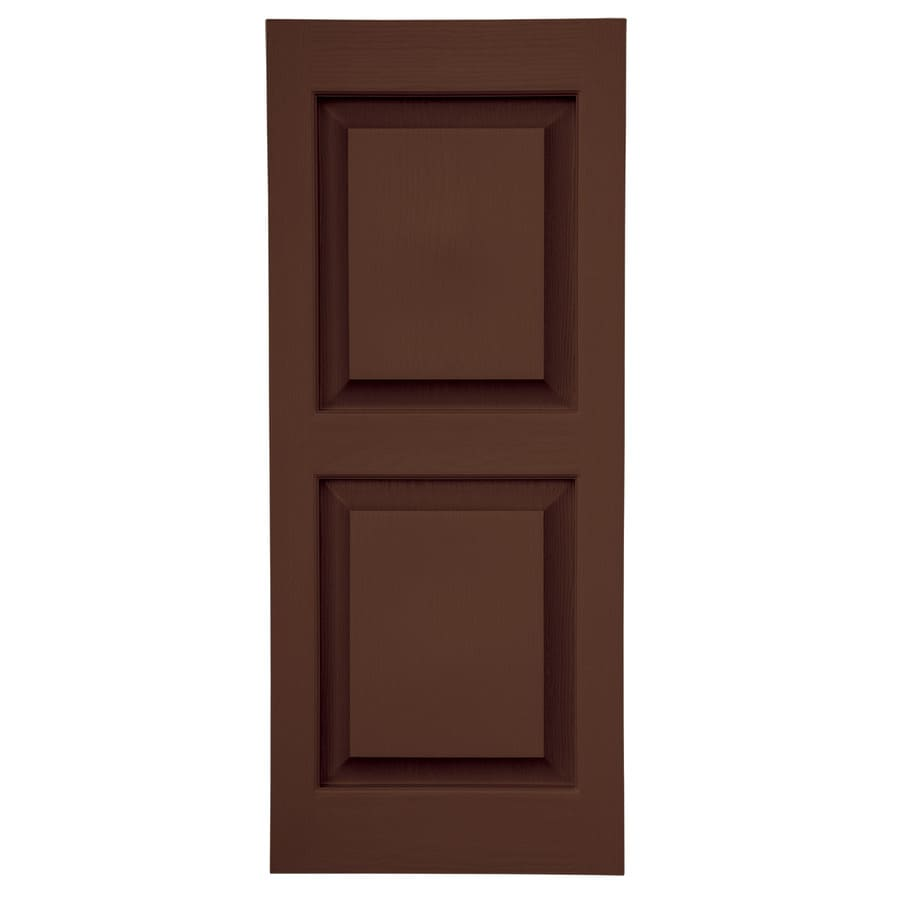 Severe Weather 2-Pack Brown Raised Panel Vinyl Exterior Shutters (Common: 15-in x 35-in; Actual: 14.5-in x 34.5-in)