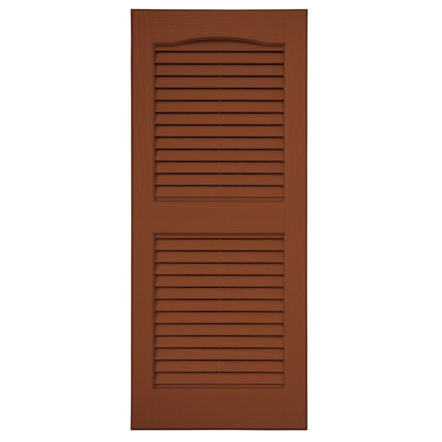 Severe Weather 2-Pack Earthen Red Louvered Vinyl Exterior Shutters (Common: 15-in x 51-in; Actual: 14.5-in x 50.5-in)