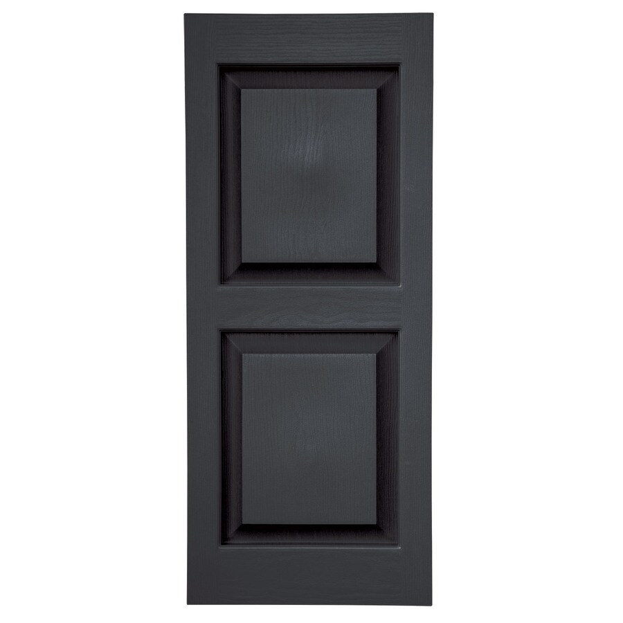 Severe Weather 2-Pack Black Raised Panel Vinyl Exterior Shutters (Common: 15-in x 51-in; Actual: 14.5-in x 50.5-in)