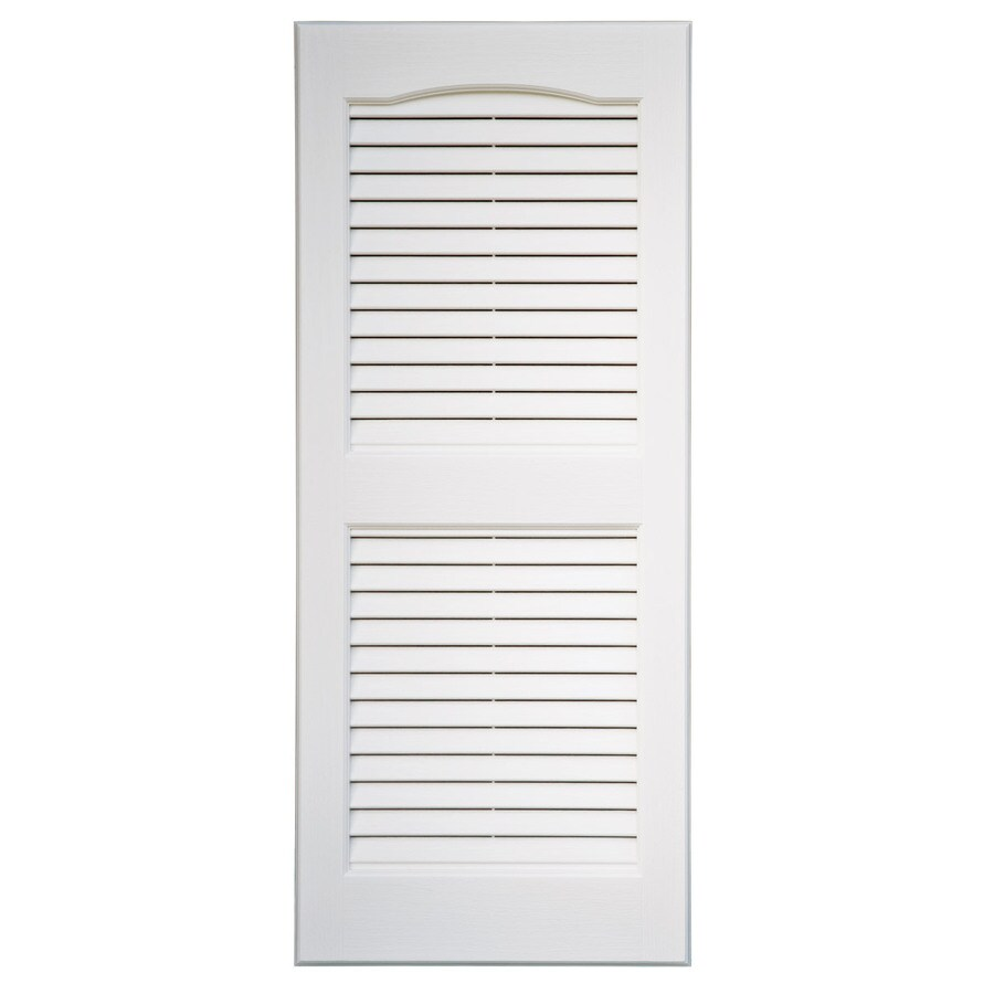 Severe Weather 2-Pack White Louvered Vinyl Exterior Shutters (Common: 15-in x 55-in; Actual: 14.5-in x 54.5-in)