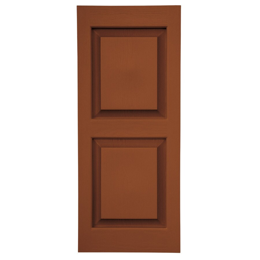 Severe Weather 2-Pack Earthen Red Raised Panel Vinyl Exterior Shutters (Common: 15-in x 55-in; Actual: 14.5-in x 54.5-in)
