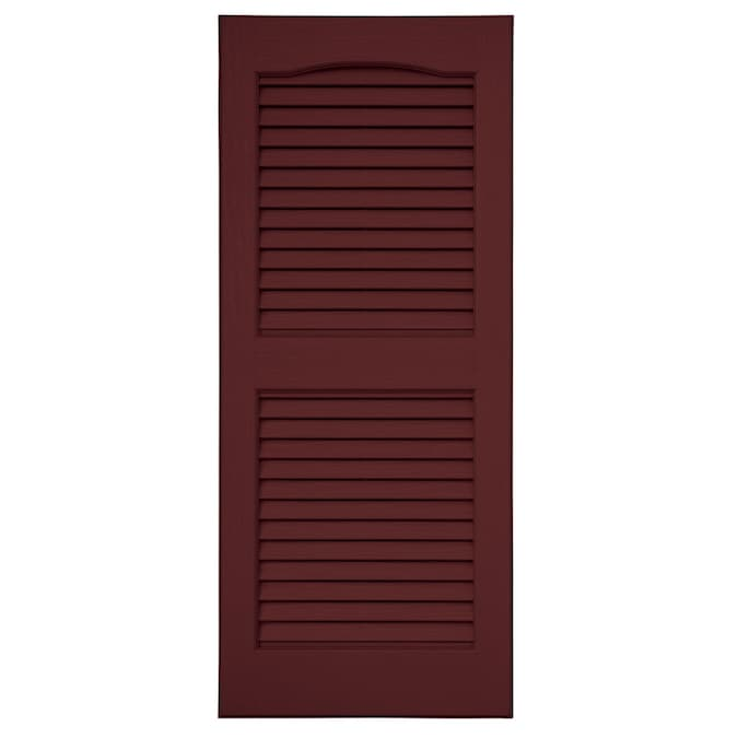Severe Weather 2-Pack Green Louvered Vinyl Exterior Shutters 15x39
