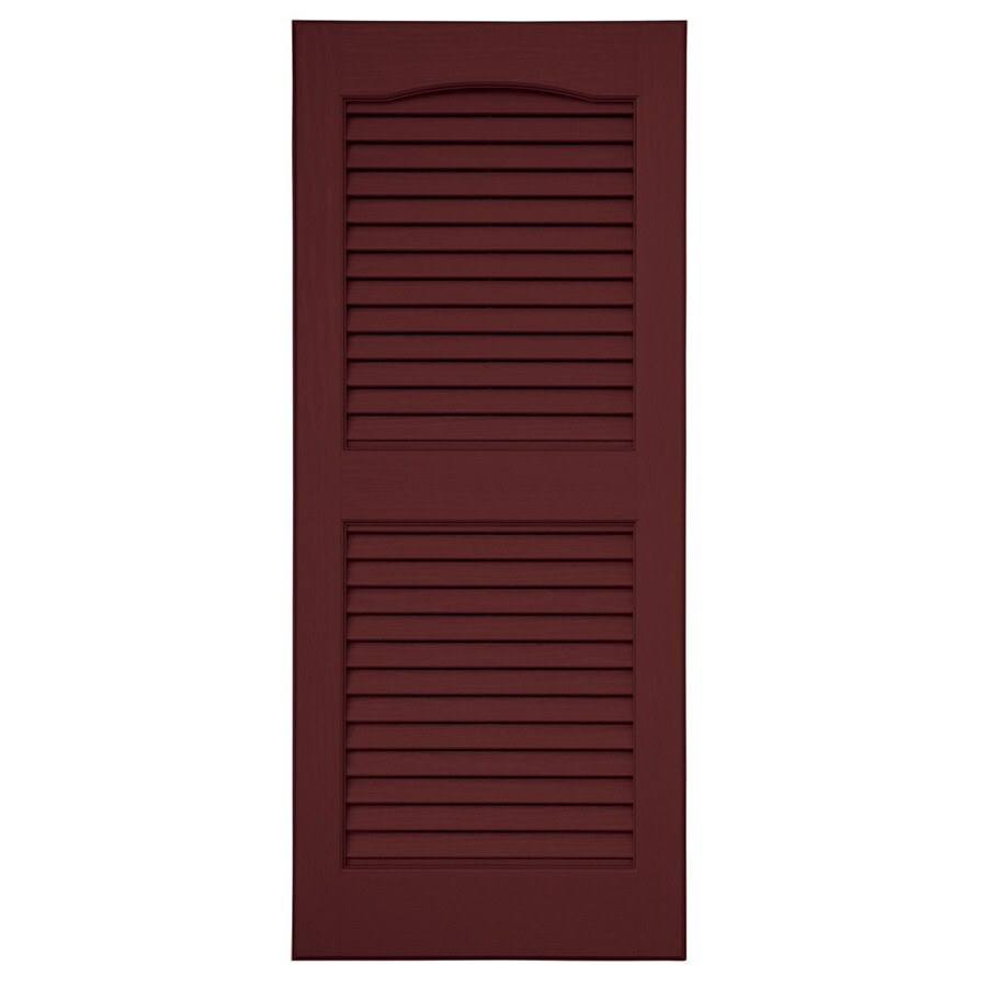 Severe Weather 2-Pack Bordeaux Louvered Vinyl Exterior Shutters (Common: 15-in x 63-in; Actual: 14.5-in x 62.5-in)