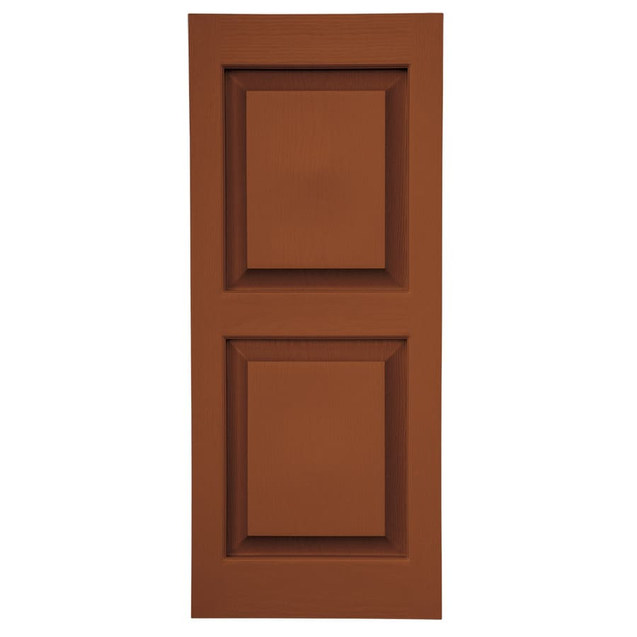 Severe Weather 2-Pack Earthen Red Raised Panel Vinyl Exterior Shutters (Common: 15-in x 63-in; Actual: 14.5-in x 62.5-in)