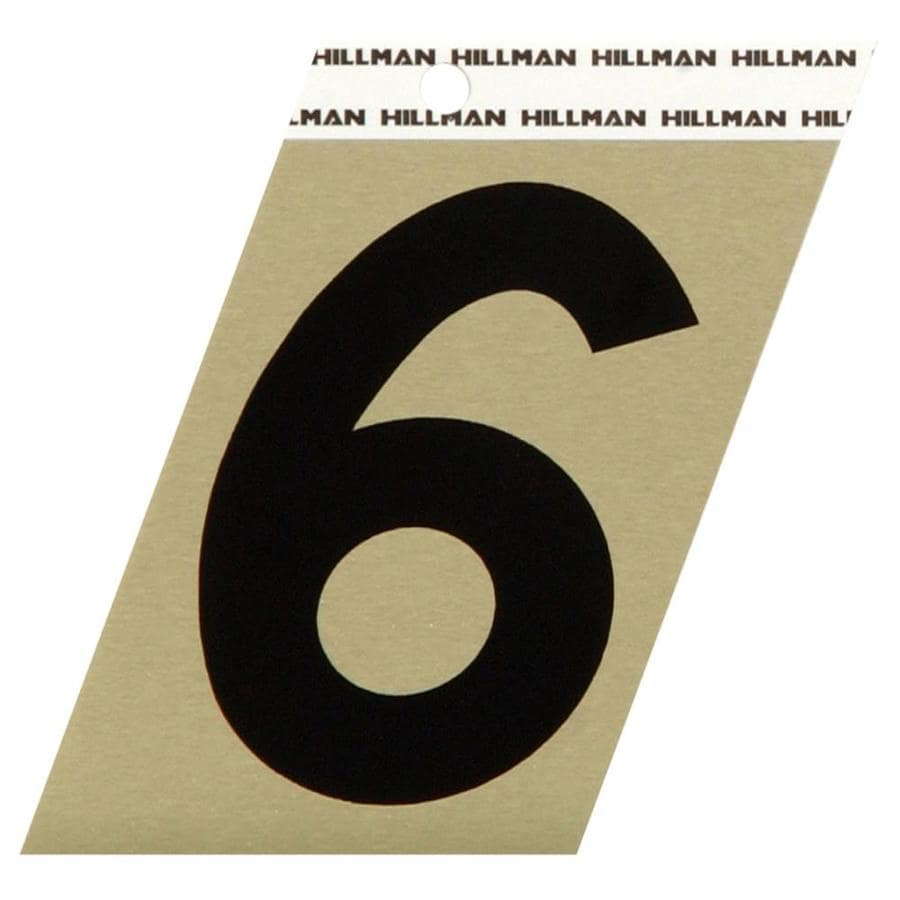 The Hillman Group 3-in Black and Gold Reflective House Number 6