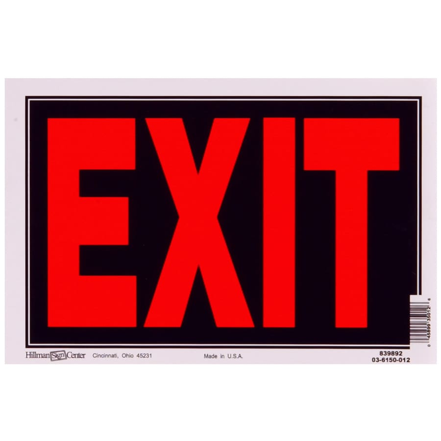 The Hillman Group 8-in x 12-in Exit Sign
