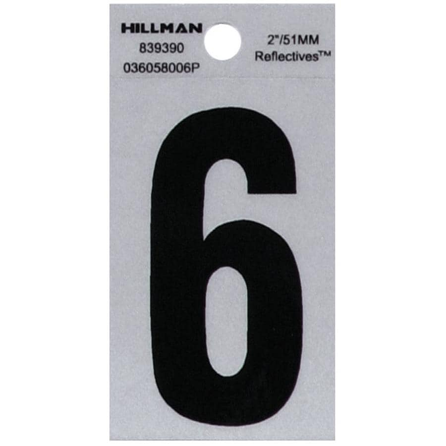 The Hillman Group 2-in Reflective Black House Number 6