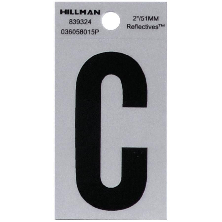 Hillman Sign Center 2-in Black and Silver Reflective House Letter C