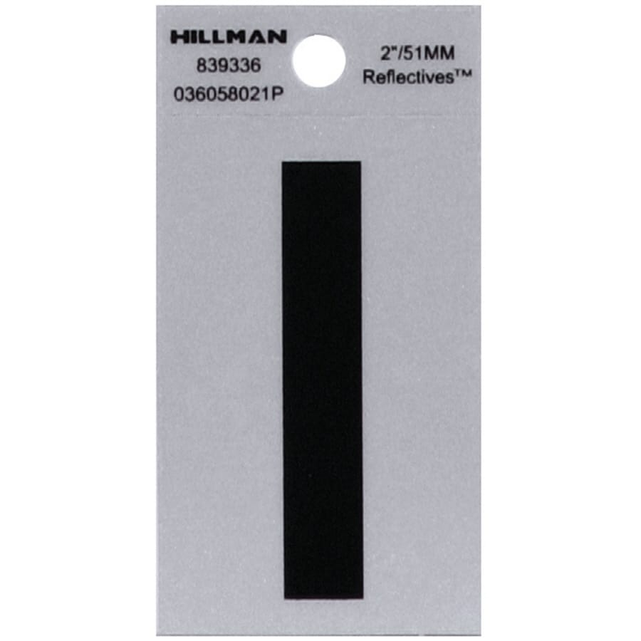 "Hillman Sign Center 2"" Black and Silver Vinyl Reflective Letter I"
