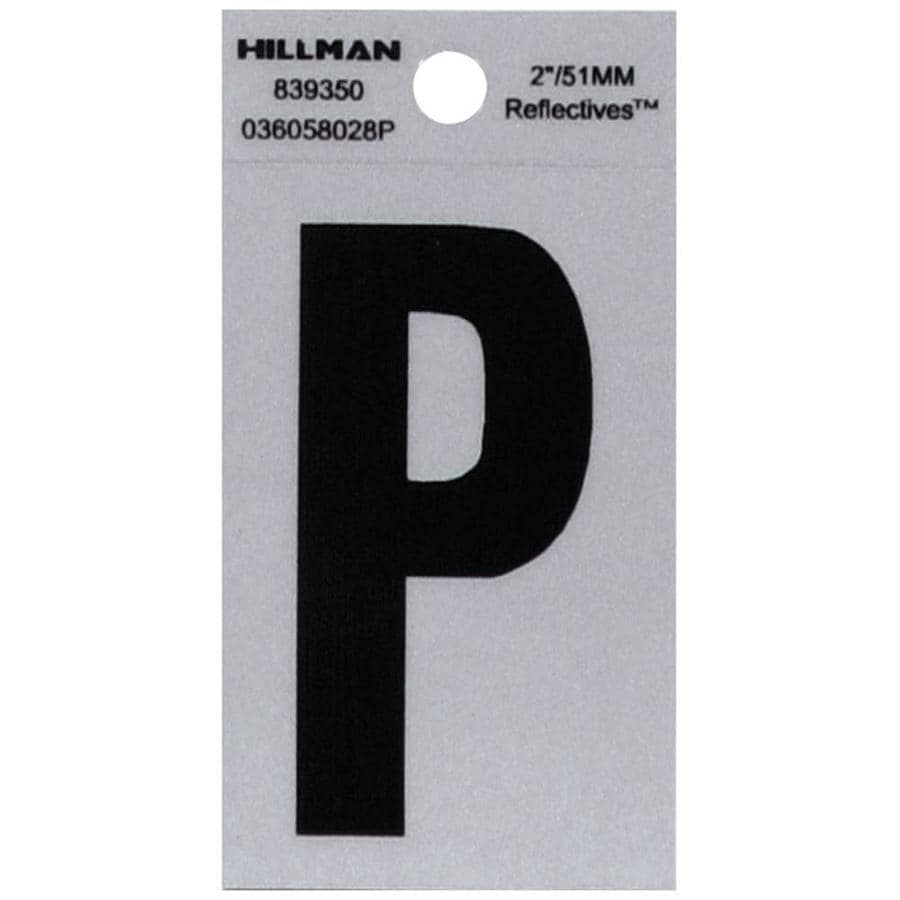 "Hillman Sign Center 2"" Black and Silver Vinyl Reflective Letter P"
