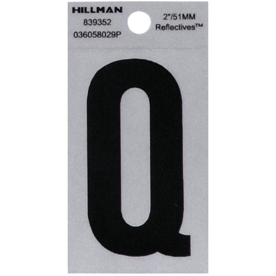 Hillman Sign Center 2-in Reflective Black House Letter Q