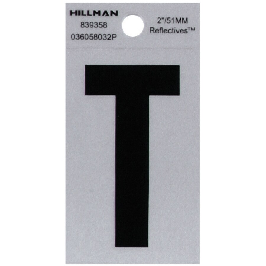 The Hillman Group 2-in Reflective Black House Letter T