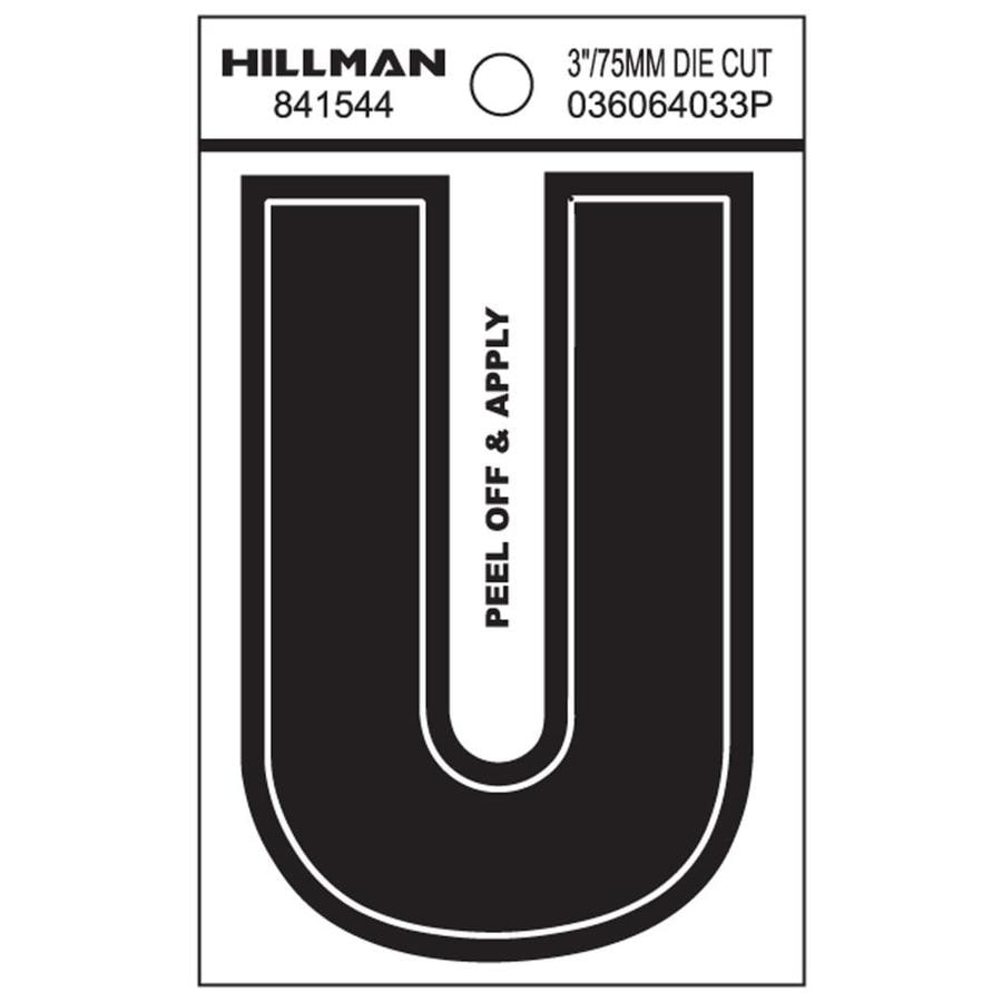 The Hillman Group 3-in Black House Letter U