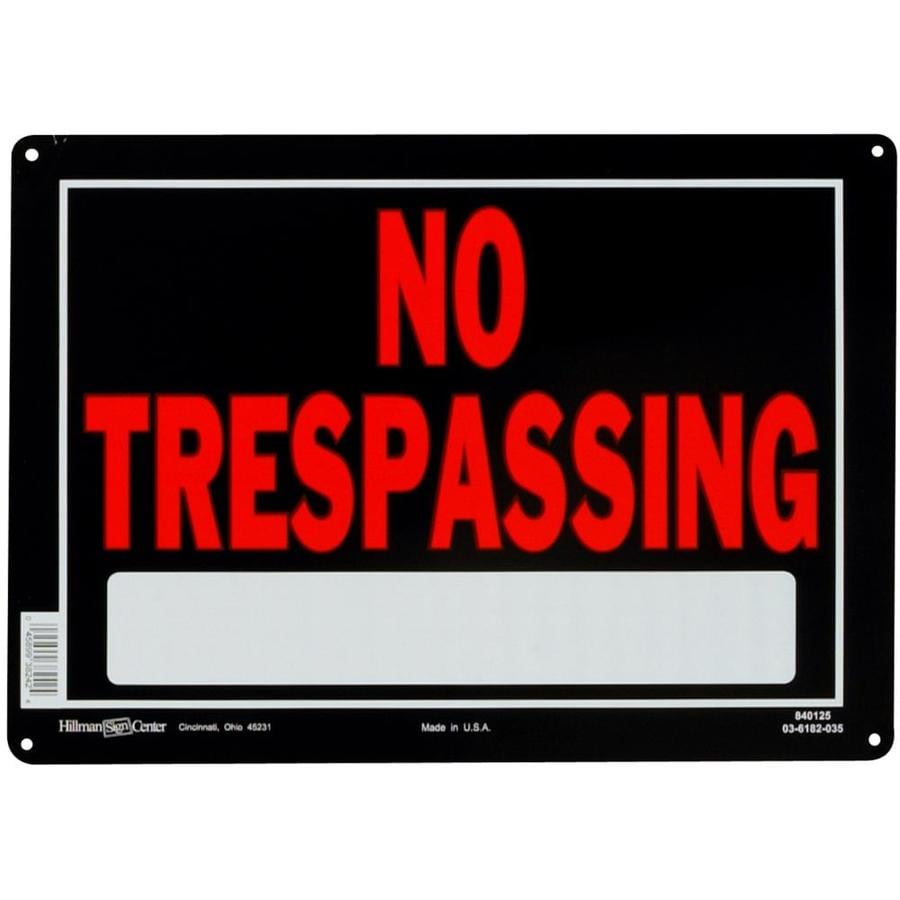 The Hillman Group 10-in x 14-in Trespassing Sign