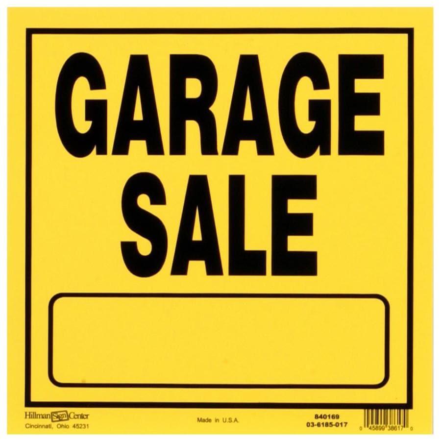 Shop Hillman Sign Center 11 In X 11 In Garage Sale Sign At
