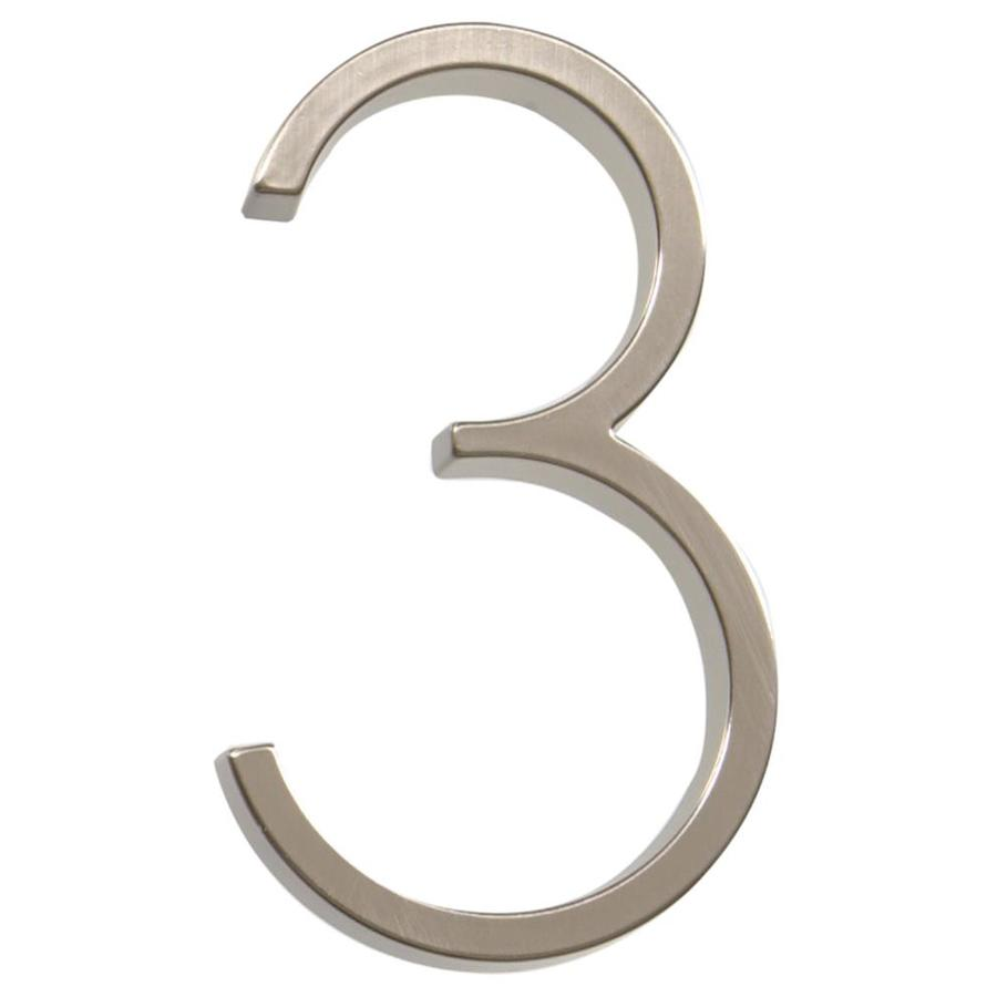 The Hillman Group 5-in Satin Nickel House Number Number 3
