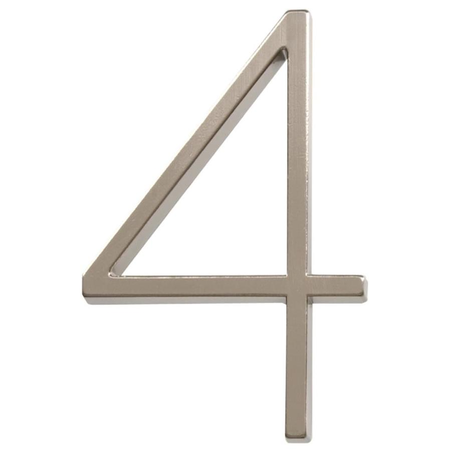 The Hillman Group 5-in Satin Nickel House Number Number 4