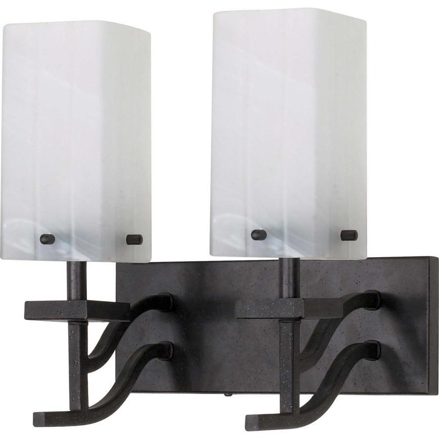 Lowes Black Vanity Lights : Shop Cubica 2-Light Textured Black Vanity Light at Lowes.com