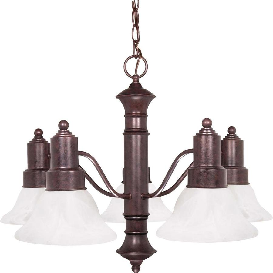 Gotham 24.5-in 5-Light Old Bronze Alabaster Glass Candle Chandelier