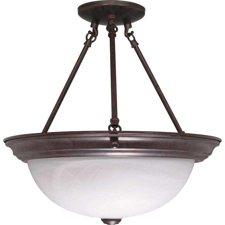 Divina 15.68-in W Old Bronze Frosted Glass Semi-Flush Mount Light