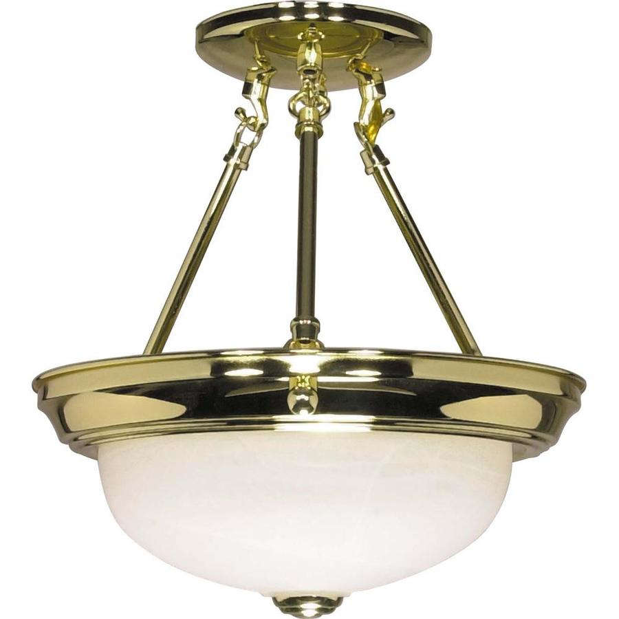 Divina 12-in W Polished Brass Frosted Glass Semi-Flush Mount Light