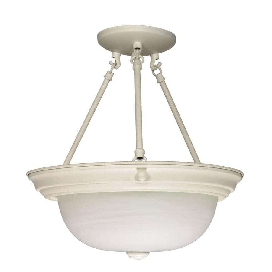 Divina 13.72-in W Textured White Frosted Glass Semi-Flush Mount Light