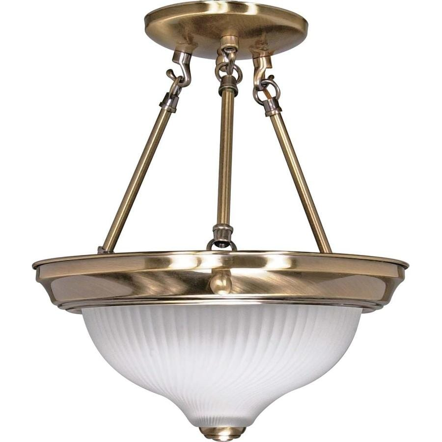 Divina 12-in W Antique Brass Frosted Glass Semi-Flush Mount Light