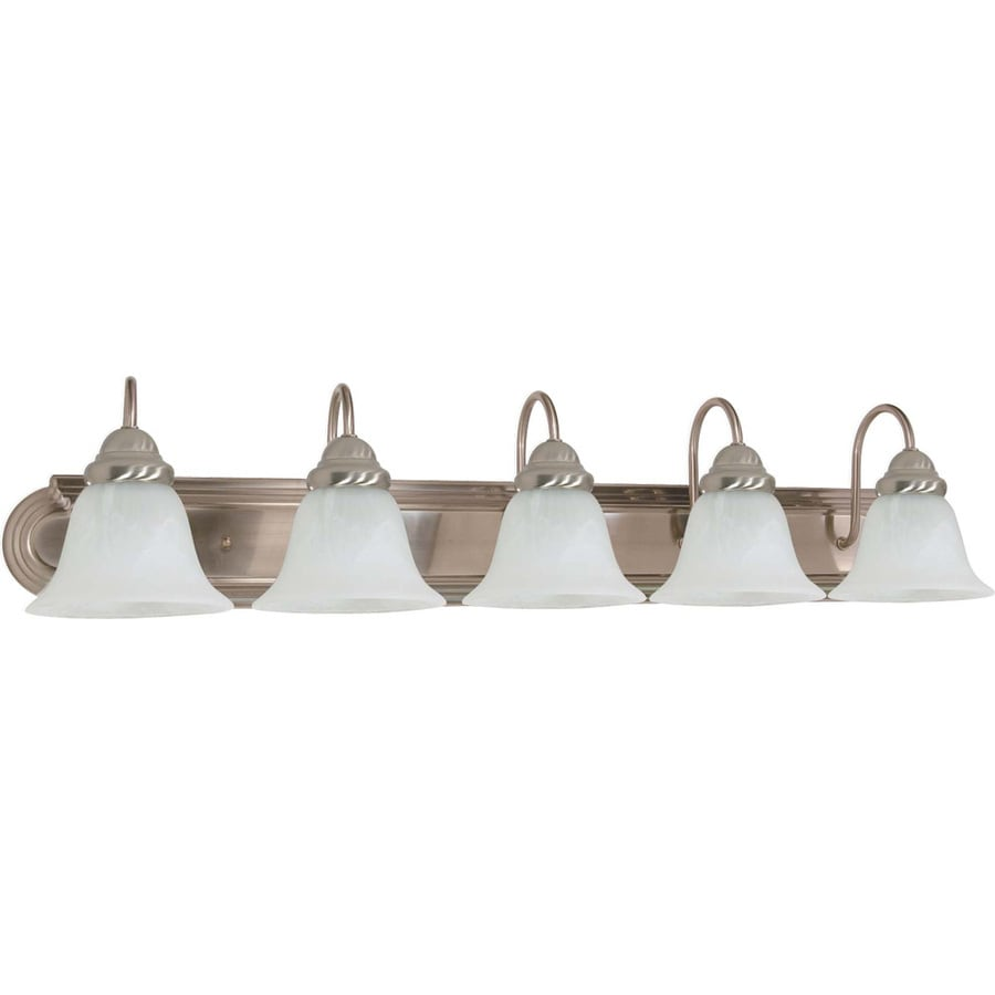 Shop 5 light ballerina brushed nickel bathroom vanity for Bathroom 5 light fixtures