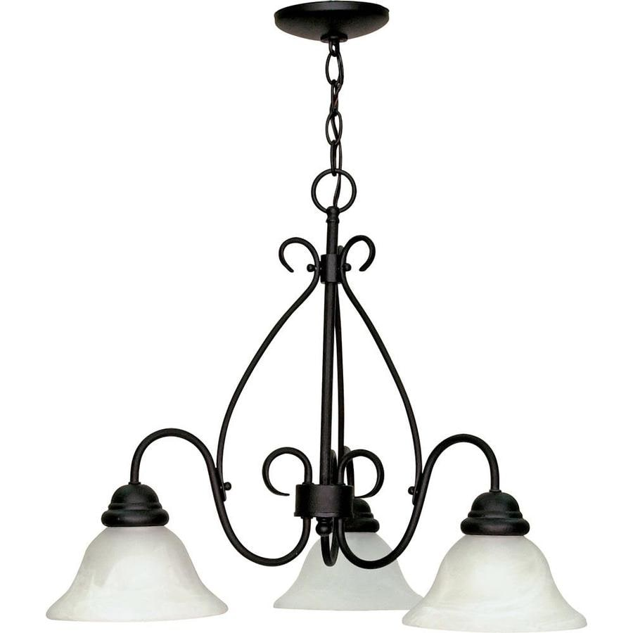 Castillo 26-in 3-Light Textured Black Alabaster Glass Candle Chandelier