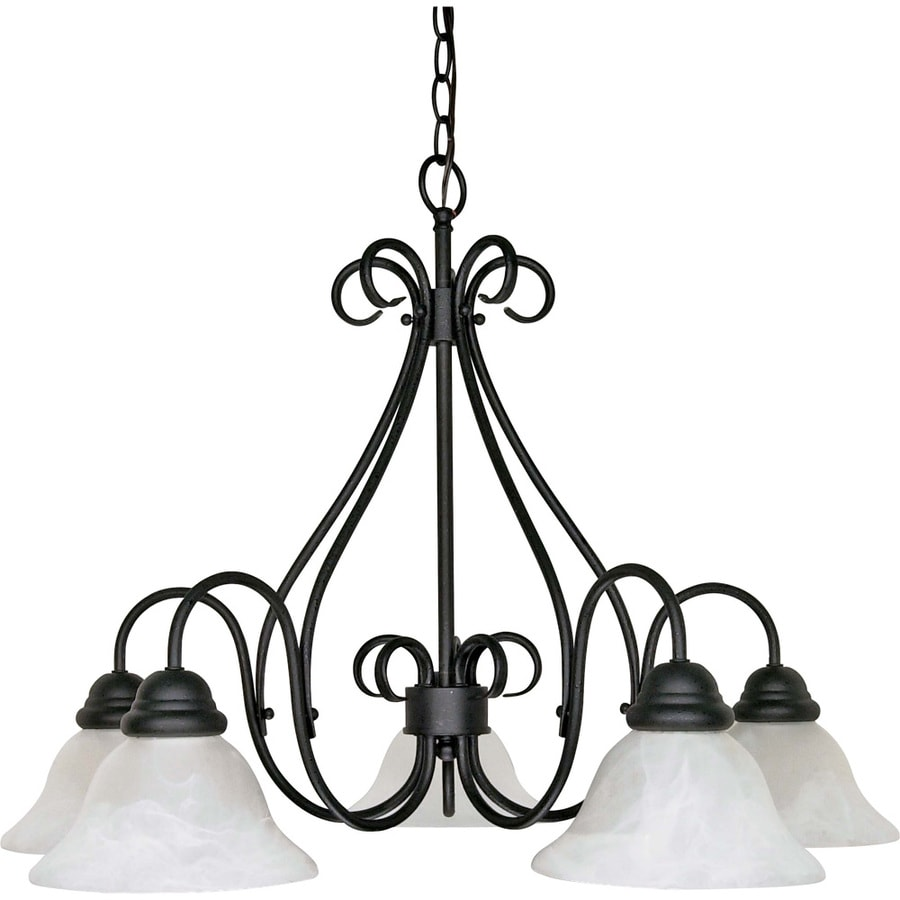 Castillo 28-in 5-Light Textured Black Alabaster Glass Candle Chandelier