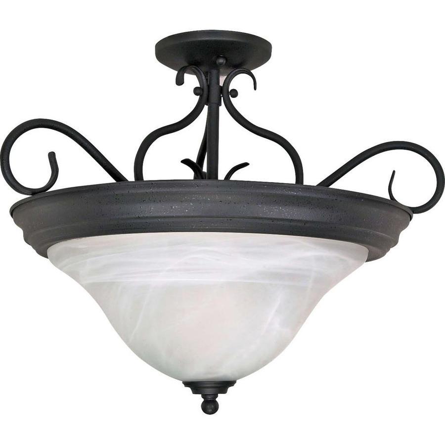 Divina 16.17-in W Textured Black Alabaster Glass Semi-Flush Mount Light
