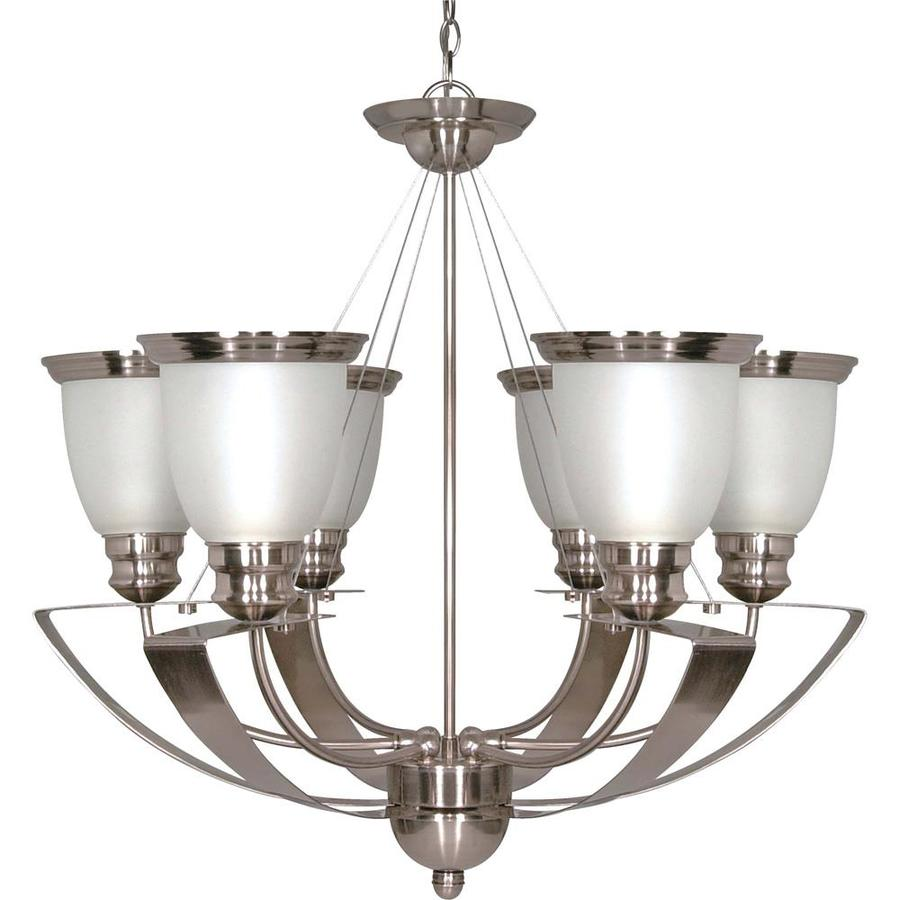 Palladium 25-in 6-Light Brushed Nickel Tinted Glass Candle Chandelier