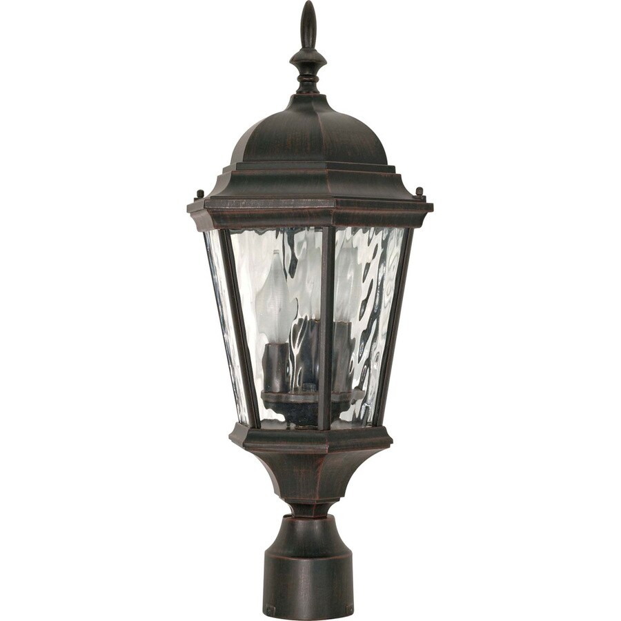 9.55-in W Old Penny Bronze Outdoor Flush-Mount Light