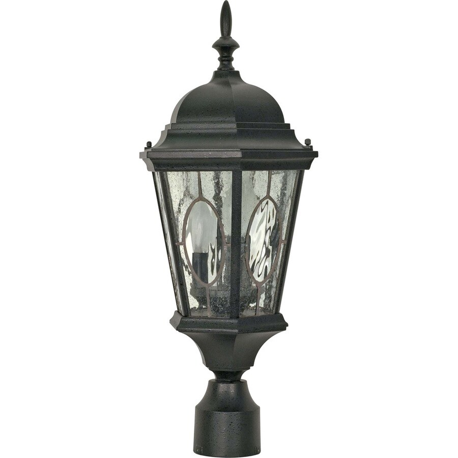 9.55-in W Textured Black Outdoor Flush-Mount Light