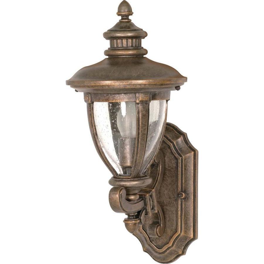 18.62-in H Platinum Gold Brass Outdoor Wall Light