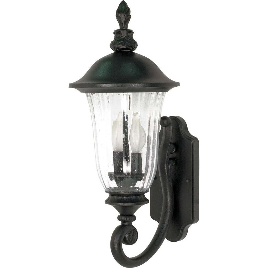 16.66-in H Textured Black Outdoor Wall Light