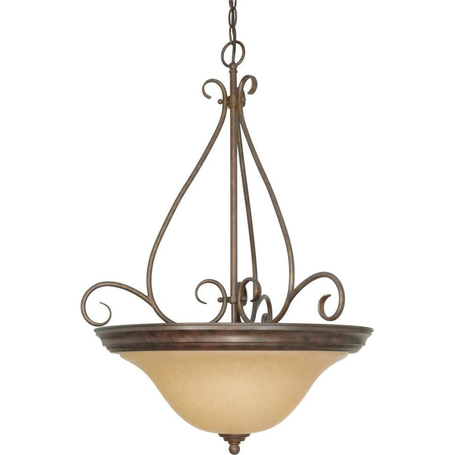 Rockport Milano 19-in Sonoma Bronze Single Tinted Glass Bell Pendant