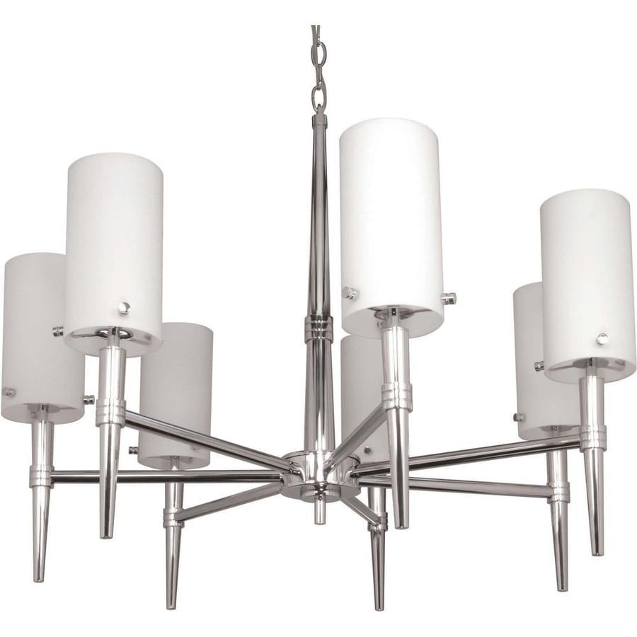 Jet 30-in 7-Light Polished Chrome Tinted Glass Candle Chandelier