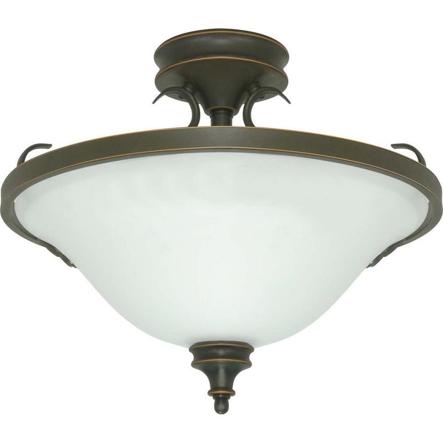 shop divina rustic bronze frosted glass semi flush mount light at. Black Bedroom Furniture Sets. Home Design Ideas