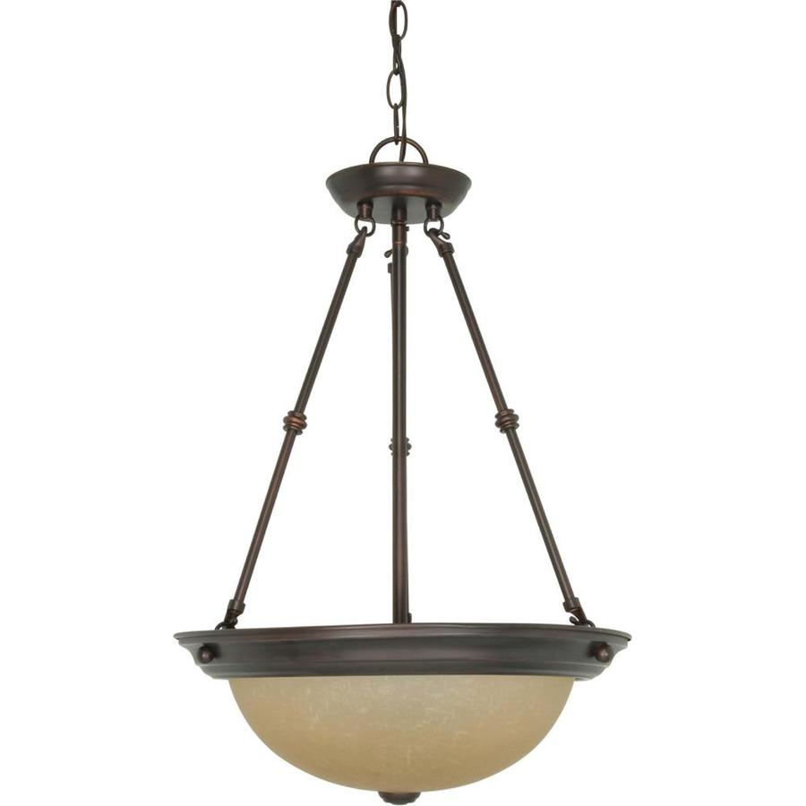 Rockport Milano 16-in Mahogany Bronze Single Tinted Glass Pendant