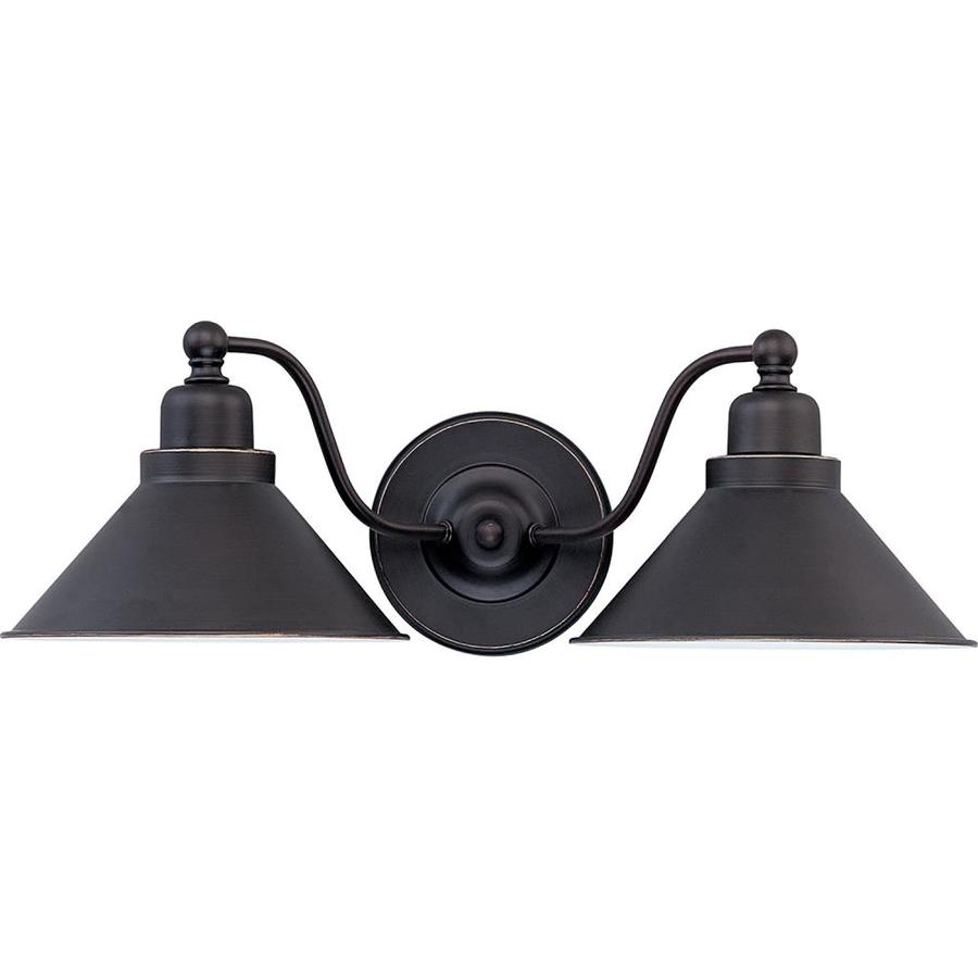 Bridgeview 20-in W 2-Light Mission Dust Bronze Arm Hardwired Wall Sconce