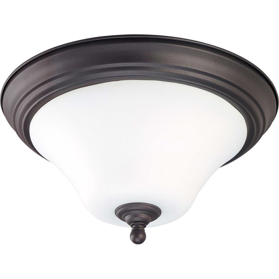 13-in W Dark Chocolate Bronze Ceiling Flush Mount Light