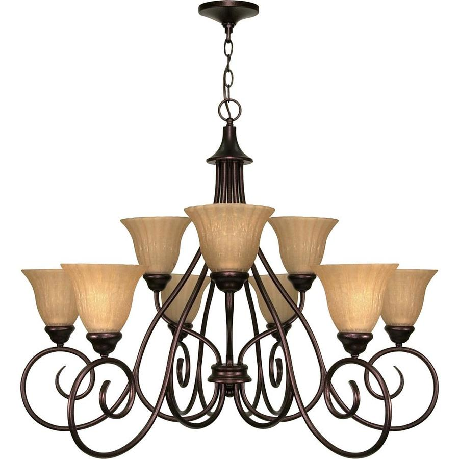 Moulan 28-in 9-Light Copper Bronze Tiered Chandelier