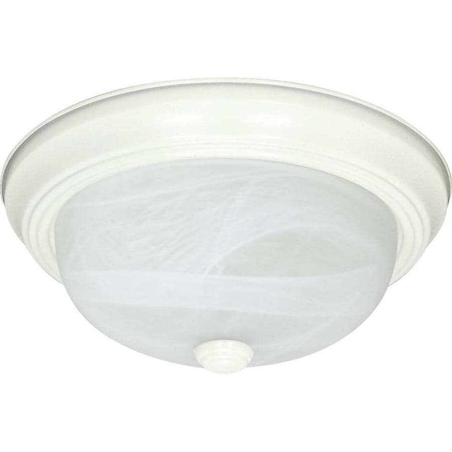 15.25-in W Textured White Ceiling Flush Mount Light