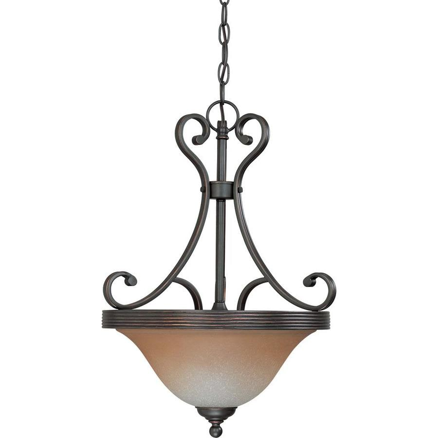 Montgomery 17.37-in Sudbury Bronze Single Tinted Glass Pendant