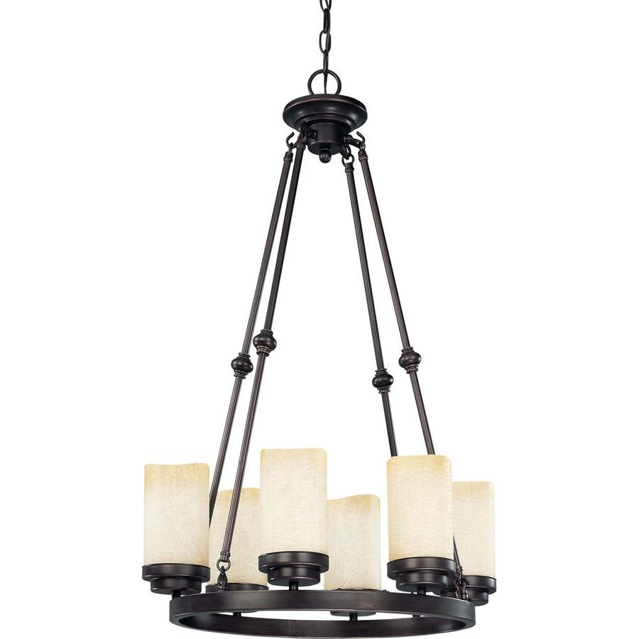Lucern 15.5-in 6-Light Patina Bronze Tinted Glass Candle Chandelier