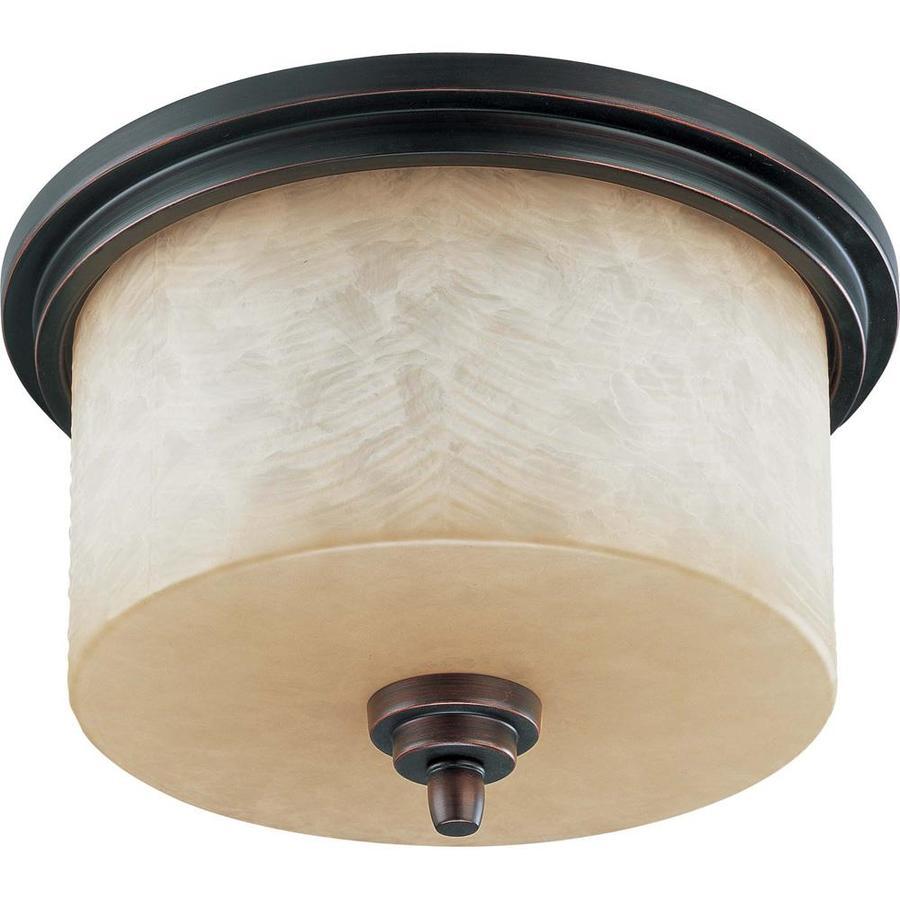 14.5-in W Patina Bronze Ceiling Flush Mount Light