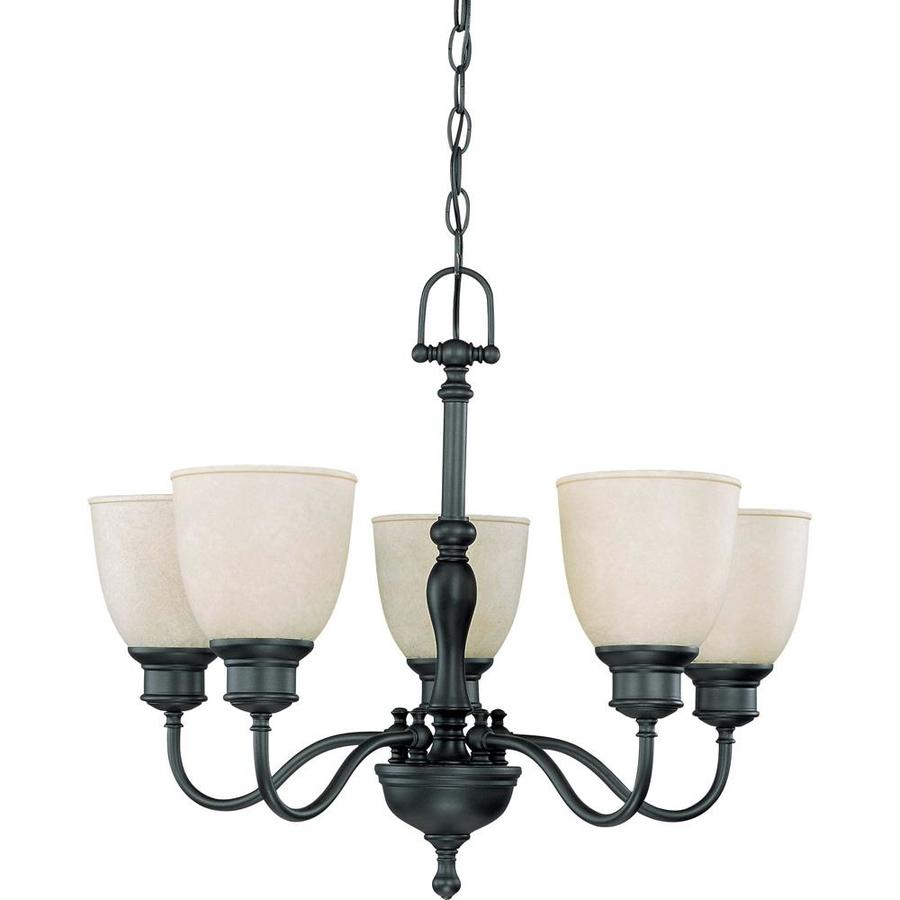 Bella 24.5-in 5-Light Aged Bronze Tinted Glass Candle Chandelier