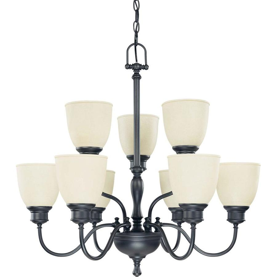 Bella 29-in 9-Light Aged Bronze Tinted Glass Tiered Chandelier